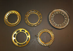 LOT OF 5 ANTIQUE SHADE SUPPORT RINGS BRASS C $110.00