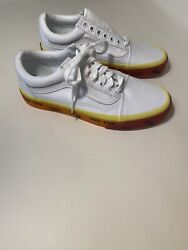 Vans Off The Wall White Yellow Orange Lace Up Shoes 500714 Men's 7 Women's 8.5 $52.99