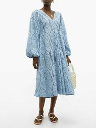 NWT GANNI Broderie Anglaise Eyelet Lace Midi Dress Light Blue Size 32 0 $475 $289.99
