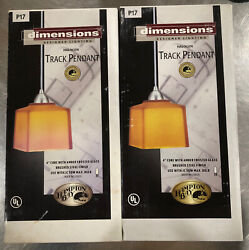 Set Of Two Hampton Bay Track Pendant Light P17 Amber Frosted Glass Brushed Steel $69.98