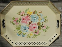 Vintage Tole Tray Hand Painted Reticulated Edge Signed Pink Roses $37.50