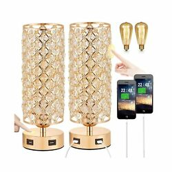 Touch Control USB Crystal Table Lamp Sets Dimmable Nightstand Lamp with Dual... $63.21