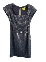 Aysha NY Designer Cocktail Navy Blue Dress Size 2 Small