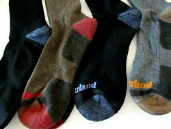 Timberland Men#x27;s 4 Pack Crew Socks 9 12 SOCKS WILL FIT SHOES 10 13 BLACK GREY BR $23.39
