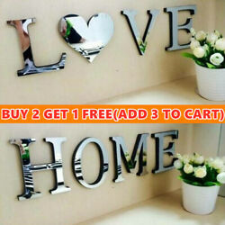 Mirror Wall Sticker Love Home Letters DIY Art Room Decor Acrylic Adhesive Decal $9.97