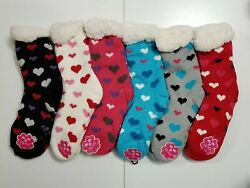 WOMENS CHRISTMAS SOCKS THICK KNIT SHERPA FLEECE LINED GRIPPERS SLIPPER 6 PAIRS $49.99
