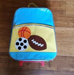 Novelty Kids#x27; Luggage telescoping handles amp; wheels sports designs gently used $25.00