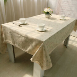 Flower Tablecloth Lace Rectangular Table Covers Cotton Linen Dining Modern Decor $12.36