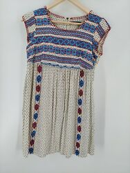 THML Embroidered Boho Dress MED Rayon $25.00
