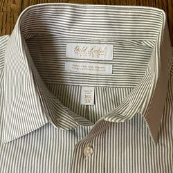 Roundtree amp; Yorke GOLD LABEL Fitted Non Iron Gray Stripe Dress Shirt Mens 16 1 2 $17.99
