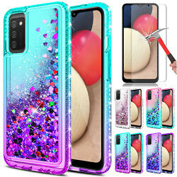 For Samsung Galaxy A02S Phone Case Liquid Bling TPU Cover Glass Screen Protector $8.95