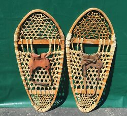 OLD #x27;Black Eagle#x27; BEAR PAW SNOWSHOES 30x14 Snow Shoes BINDINGS DECORATION $48.49