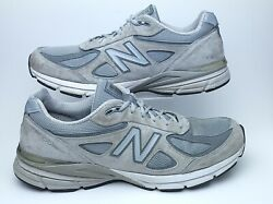 New Balance Mens 13 Gray Suede Made In USA Athletic Running Shoes 990v4 $44.52