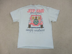 Simply Southern Shirt Womens Large Blue Pink Hair Dont Care Preppy Ladies A4* $18.88