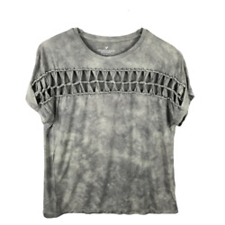 American Eagle Womens Cut Out Soft Knit Stretch Tee T Shirt Size M Short Sleeve $17.99
