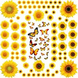 116 Pieces Sunflower Wall Stickers 3D Butterfly Wall Decals Removable Yellow $11.82