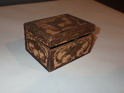Small Vintage Antique Wooden box w Pyrography Cherries Leaves $19.99