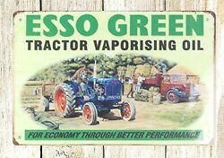 Esso Green tractor vaporising oil tin metal sign home plaques $14.89