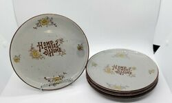 VINTAGE Set of 4 Home Sweet Home Plates Made in Japan Speckled Grey Handpainted $19.99