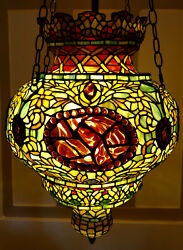 Tiffany Reproduction Hanging Lamp Turkish Moroccan Stained Glass Pendant 17x24 $1299.00