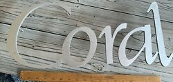 #x27;Coral#x27; Wall Letters Raised Silver Metal Sign CRAFT or BUSINESS SIGN $65.00