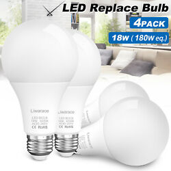 4pack 180W Equivalent Super Bright LED Light Lamp Bulb 6500K Daylight Cool Clear $22.99