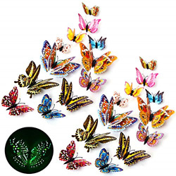 3D Butterfly Wall Stickers Decor Luminous Colorful Butterfly Wall Decals for Art $12.72