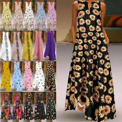Women Boho Sleeveless V Neck Kaftan Summer Casual Tank Long Maxi Dress Plus Size $16.52