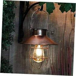 Solar Lantern Outdoor Hanging Light Rustic Solar Lamp with Warm White Copper $37.83