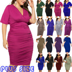 Women#x27;s Plus Size Bodycon Dress Pleated Cocktail Party Evening Knee Length Dress $19.66