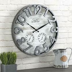 Large Rustic Wall Clock Farmhouse Porch Outdoor Patio Home Decor Gray Round 18in $36.14