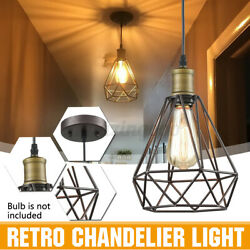 Vintage Metal Cage Industrial Wire Frame Pendant Light Loft Ceiling Lamp Shade $19.57