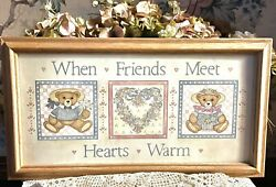 Vintage Teddy Bear Framed Art mid 1980s ; Light Oak Wood frame; 17.75quot; x 9.5quot; $13.50