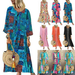 Women Boho Loose Sundress Floral Summer Beach Long Kaftan Maxi Dress Plus Size $18.42