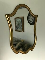 Vintage Wall Mirror Gold Gilt Wood Frame 22.5quot; x 17.5quot; Great Shape $40.00