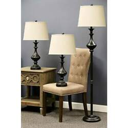 Traditional Bronze 3 Piece Floor and Table Lamp Set Classic Style Ambiance $221.20