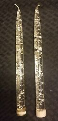 "Mid Century Modern Lucite Acrylic Candle Candlestick Silver Flake Clear Pair 11"" $55.00"