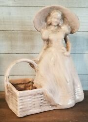 Vintage Flower Pot Planter Woman with Basket Resin Decor Container $15.00