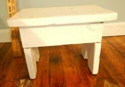 Small Handmade Antique Wooden Foot Stool White Paint $25.00