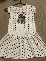 Little girls black and white cat dress by babyball size 6 7 $2.99