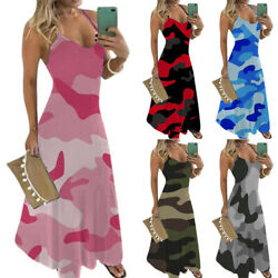 Womens Camouflage V Neck Cami Dress Summer Holiday Beach Maxi Dress Plus Size $18.39