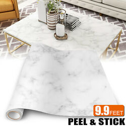 White Marble Wallpaper Self Adhesive Stickers Oil Proof Waterproof Kitchen Decor $14.95