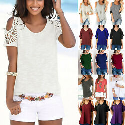 Womens Cold Shoulder Short Sleeve T Shirt Tops Summer Beach Party Tunic Blouse $15.69