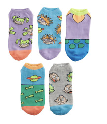 Nickelodeon Womens Socks NEW Rugrats 5 Pairs Nick Toons No Show Ankle Nicktoons $5.94