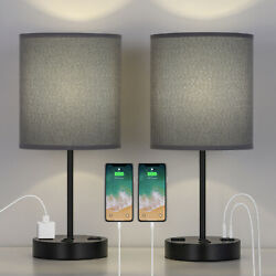 USB Table Lamp Bedside Lamps with 2 USB Charging Ports Grey Lampshade $43.90