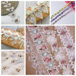 1Y Embroidered Lace Trim Flower Ribbon DIY Wedding Dress Clothing Sewing Supply GBP 3.41