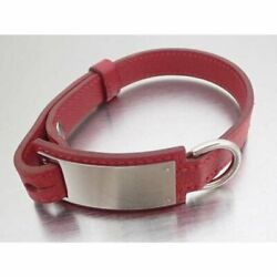 HERMES Collar Leather nameplate Metal Red Silver Pet Supplies Dog 37 cm used $520.00