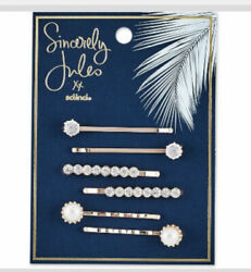 Sincerely Jules by Scunci Rose Gold Crystal And Pearl Bobby Pins 6pk Quick Ship $7.00