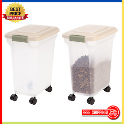 Airtight Storage Container Large Bin For Pet Cat Dog Food Bird Seeds Rolling Box $31.11