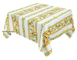 French Provencal 100% Cotton Tablecloth Lemons White Yellow 61X61 Made In France $44.00